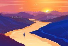 Sunset Landscape. Vector Illustration. by Krolone Sunset landscape. Vector design illustration for web design development, natural landscape graphics.
