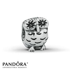 This Pandora fashion jewelry owl charm is crafted in sterling silver. Style # 790278.