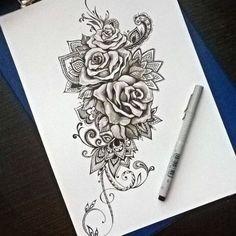 New Tattoo Thigh Mandala Paisley Ideas Et Tattoo, Piercing Tattoo, Tattoo Drawings, Tattoo Quotes, Lace Rose Tattoos, Lace Tattoo, Flower Tattoos, Thigh Tattoos, Body Art Tattoos