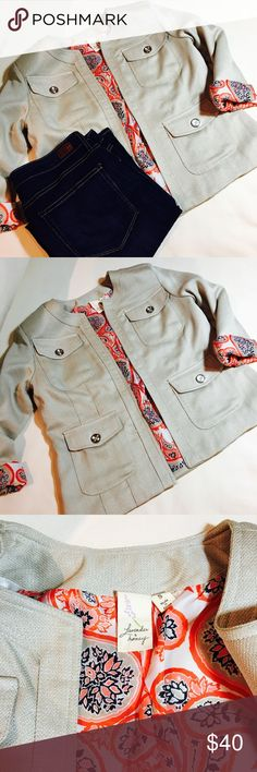 Lavender & Honey blazer New condition. Beige blazer with coral, navy, taupe and off-white paisley lining. 100% polyester. 🌸Adorable🌸 Lavendar & Honey Jackets & Coats Blazers