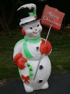 dare poloron snowman blow mold with shovel - Vintage Plastic Outdoor Christmas Decorations