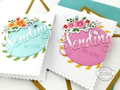 """I usually love symmetry on my cards, but once in awhile it's fun to live a little and go """"off the edge"""" – with my design, that is! Today I have a little card set that was made with the Make It Market: Don't Forget to Writekit. I die cut the card base from white …"""