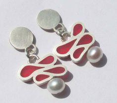 Baroque pink earrings by Vero Lázár, silver, resin, pearl Pink Earrings, Pearl Earrings, Resin Jewelry, Baroque, Pearls, Silver, Minimal, Collection, Design