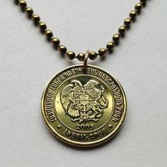 2003 Armenia 50 Dram coin pendant charm necklace jewelry Armenian symbols national coat of arms shield EAGLE and LION Mount Ararat No.001395 by acnyCOINJEWELRY on Etsy