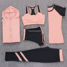 Cheap yoga suit, Buy Quality yoga suits women directly from China yoga yoga Suppliers: New Yoga Suits Women Gym Clothes Fitness Running Tracksuit Sports Bra+Sport Leggings+Yoga Shorts+Top 5 Piece Set Plus Size Workout Clothes Cheap, Cute Workout Outfits, Workout Attire, Womens Workout Outfits, Sporty Outfits, Athletic Outfits, Fashion Outfits, Yoga Outfits, Style Fashion