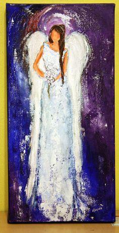 "Angel Painting ""Awaits"" Figurative, Scripture Original art by Florinda"