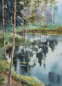 By the lake - watercolor Watercolor Trees, Watercolor Artists, Watercolor Landscape, Watercolor Print, Watercolour Painting, Landscape Art, Painting & Drawing, Landscape Paintings, Watercolors