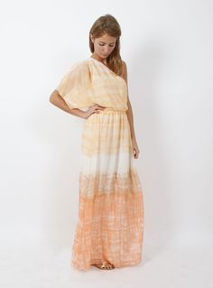 Millie Mackintosh from Made in Chelsea wearing our Crawford One Sleeve Maxi Dress by alice + olivia with our Casmine Antique Gold sandals by House of Harlow.    http://www.oxygenboutique.com/blog/live-on-oxygen/live-on-oxygen-millie-mackintosh-in-a-sunset-hued-alice-olivia-maxi/