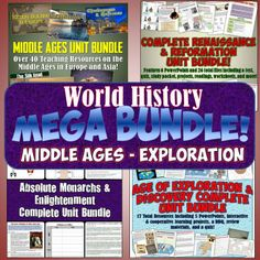 This is the 2nd MEGA bundle for World History and features 4 complete Unit Bundles together for one amazing money and time-saving download Includes bundles on the Middle Ages, Renaissance and Reformation, Absolute Monarchs, and Age of Exploration and Discovery!