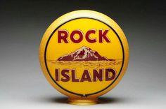 Original Rock Island Gas Globe on a yellow ripple Gill body!
