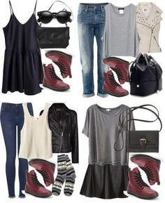 Styling requested shoes Untitled #994 by alyucma featuring MonkiShirt top, $58 / Tala shirt top / Clu polyester t shirt / Mango black leather jacket, $185 / Vero Moda vest, $46 / Topshop jeans / HM jeans, $47 / Parisian skater skirt, $31 / FAIR+true patterned wool socks, $21 / Dr. Martens red strappy shoes / Zara handbag / Cross body / Monki shoulder bag, $20 / Wayfarer style glasses