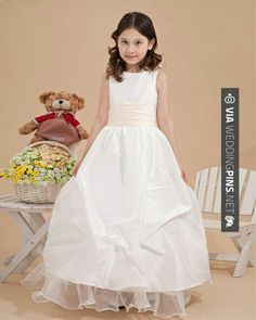 Wow - Satin Ankle-length Flower Girl Dress  Read More: | CHECK OUT MORE GREAT FLOWER GIRL AND RING BEARER PHOTOS AND IDEAS AT WEDDINGPINS.NET | #weddings #wedding #flowergirl #flowergirls #rings #weddingring #ringbearer #ringbearers #weddingphotographer #bachelorparty #events #forweddings #fairytalewedding #fairytaleweddings #romance