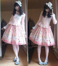 "Angelic Pretty 3 Ribbon Headbow, Angelic Pretty Pink Embellished Cutsew, Angelic Pretty Wonder Party Skirt, Angelic Pretty Pink ""Eat Me"" Socks, Secret Shop Blue Tea Party Shoes"
