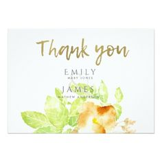 RUST ORANGE INK WATERCOLOUR FLORAL THANK YOU CARD - calligraphy gifts custom personalize diy create your own