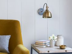 We've taken what we know works well in a lamp (pewter and brass) and whacked it on the wall. The result: a bona fide beauty. Industrial Wall Lights, Industrial Style Lighting, Slim Side Table, Bedside Wall Lights, Bedroom Lighting, Wall Lighting, Home Board, Comfy Sofa, Spare Room