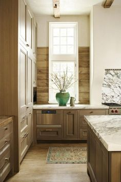 wood for backsplash - earthy - rustic  contemporary feel - saves money - photo 2 - pantry -  old meets new kitchen -  beth webb and peter block