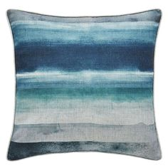 Blue Watercolour Stripe Cushion: Sea blue hues wash over this square cushion which will give your room a coastal feel, from Dunelm. Striped Cushions, Blue Pillows, Sofa Cushions, Throw Pillows, Hamptons Decor, Coastal Bedrooms, Coastal Living Rooms, Metal Beds, Soft Furnishings