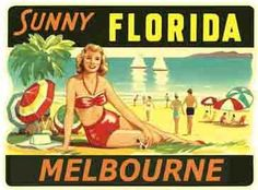Melbourne FL Florida Vintage 1950's Style Travel Sticker Decal | eBay