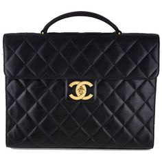 5f4c163bb52670 Pre-Owned Chanel Black Classic Quilted Briefcase Flap Lambskin Tote...  ($2,099