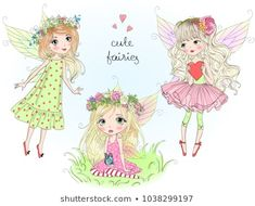 Vector de stock (libre de regalías) sobre Two Hand Drawn Beautiful Cute Little1022899375 Cool Clipart, Little Girl Drawing, Wings Drawing, Cute Fairy, Illustration, Modern Cross Stitch Patterns, Portfolio, Butterfly Wings, Royalty Free Photos