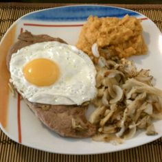 Steak And Eggs With Sweet Potatoe Mash  @ Papuki's Place