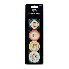 Unique Sushi Roll Washi Tapes. Cute back to school supplies. Buy Tea, Kawaii Stationery, Sushi Design, Back To School Gifts, Masking Tape, Washi Tapes, Original Gifts, Sushi Rolls, Cute Japanese