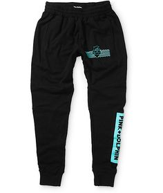 Upgrade your style with these thick terry lined joggers that feature and adjustable drawstring waist for a custom fit and contrast teal Pink Dolphin graphics printed throughout.