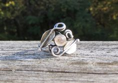 Rainbow Moonstone Silver Leaf and Vine Ring.  Nature inspired Ring in Oxidized Sterling Silver with Rose Cut Moonstone. by LoMoStudio on Etsy