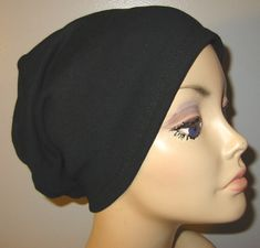 Black Knit Chemo Cap Cancer Hat Alopecia Modest by CJHats Beat Cancer, Stupid Cancer, Silly Hats, Twa Hairstyles, Hair Cover, Stop Hair Loss, Bad Hair Day, About Hair, Black Knit