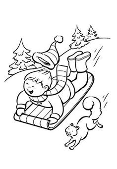 free winter scenes coloring pages - photo#27