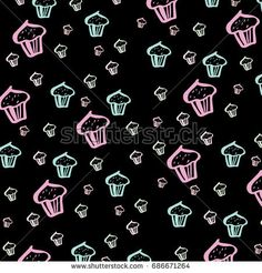 Pattern with cakes.Hand drawn elements.Perfect design for posters, cards, textile, web pages.