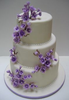 Lovely Cake with Purple Flowers