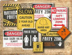 Construction birthday party signs - Printable construction party decorations -  matching invitation in shop - DIY instant download by 2birdstudios on Etsy https://www.etsy.com/listing/188407867/construction-birthday-party-signs