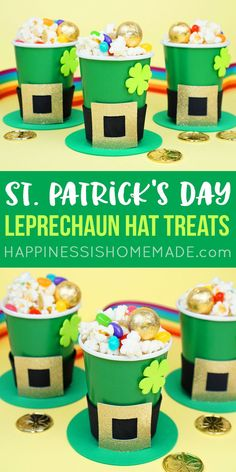 St. Patrick's Day Craft for Kids: These Leprechaun Hat St. Patrick's Day Treat Cups are an easy St. Patrick's day kids craft filled with a tasty rainbow snack mix! A great class party treat idea!
