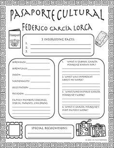 Pasaporte Cultural - Federico García Lorca by LA SECUNDARIA | Teachers Pay Teachers