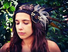 Ready To Ship Feather Headdress with by LeatherMeFeathers on Etsy