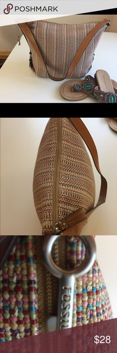 Fossil hand bag multi color beige Fossil hand bag multicolor textile fossil Bags Shoulder Bags