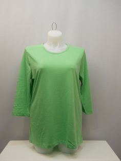 SIZE XL Women's Knit Top Solid Green AMERICAN SWEETHEART 3/4 Sleeves Scoop Neck #AmericanSweetheart #KnitTop #Casual