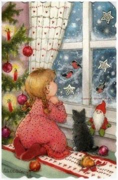 New single Christmas card by Aila Utriainen, girl, cat, window + small card Vintage Christmas Images, Old Christmas, Christmas Scenes, Retro Christmas, Christmas Pictures, Illustration Noel, Christmas Illustration, Christmas Drawing, Christmas Paintings