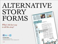 An overview presentation on alternative story forms (also called storytllin Yearbook Mods, Yearbook Class, Yearbook Design, High School Yearbook, Yearbook Ideas, Writing Advice, Writing Prompts, Parts Of A Magazine, Teaching Yearbook