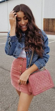 elegant summer outfits to wear now casual outfits pinter Denim Jacket Outfit Summer, How To Wear Denim Jacket, Winter Skirt Outfit, Denim Outfit, White Jacket Outfit, Pink Skirt Outfits, Denim Skirt Outfits, Fall Outfits, Casual Outfits