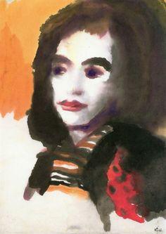 Emil Nolde ~ Portrait of a Woman (Jolanthe Nolde), c.1950