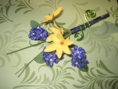 Sample Silk flower Boutonniere - blue and yellow
