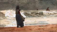 """The Watcher, Tynemouth,"" Winslow Homer, transparent and opaque watercolor, x The Art Institute of Chicago. Winslow Homer, American Realism, American Artists, John Singer Sargent, Beneath The Surface, Art Institute Of Chicago, Historical Maps, Illustrations, Les Oeuvres"