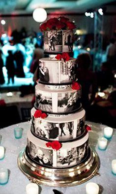 Wedding cake with black & white photos of the couple.