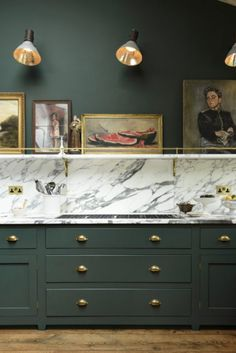 Bold green cabinets, brass knobs with marble countertops. Peckham Rye Kitchen& - Bold green cabinets, brass knobs with marble countertops. Peckham Rye Kitchen& by deVOL - Green Kitchen Cabinets, New Kitchen, Kitchen Decor, Kitchen Ideas, Kitchen Art, Kitchen Modern, Kitchen Trends, Kitchen Knobs, Dark Cabinets