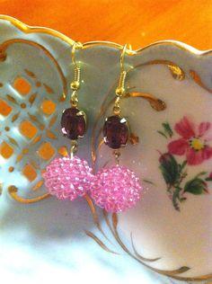 vintage purple oval stone and pink beaded ball dangle earrings. $12.95, via Etsy.