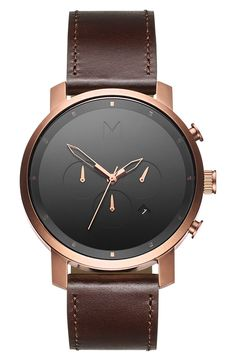 MVMT Chronograph Leather Strap Watch, 45mm available at #Nordstrom