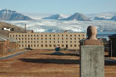 """statue of Lenin in the ghost town Pyramiden.  """"Look on my works, ye mighty, and despair."""""""
