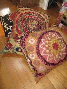 vintage suzani floor pillows *bohemian, gypsy, textile